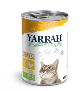 Yarrah Biologisch Kattenvoer Chuncks met Kip - 12 x 405 gram