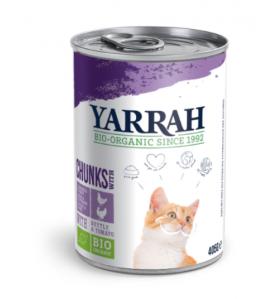 Yarrah Biologisch Kattenvoer Chunks met Kip & Kalkoen - 12 x 405 gram