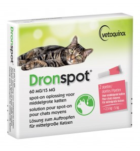 Dronspot Middelgrote Kat 60 mg / 15 mg - 2.5 kg t/m 5 kg - 2 Pipetten