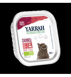 Yarrah Biologisch Kattenvoer Chucks met Kip & Rund - 16 x 100 gram